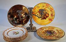 Various early 20thC cabinet plates, each of shaped circular form, decorated with summer flowers to t
