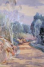 D Scott Murray (1866-1935). Tree lined path, watercolour, signed, 35cm x 25.5cm.