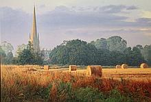 Peter Sharman (20thC). Harvest Time and St Helen's Church, photographic screen print, attributed ver