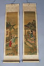 A pair of early 20thC Chinese scroll paintings, being watercolours applied to paper on silk and depi