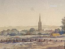 *Walter Lee (1891-1969). Grantham from Halls Hill, watercolour, unsigned, 17.5cm x 16cm.