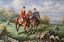 *Robert Fox (20thC). Huntsman and hounds before trees with clouds gathering, oil on canvas, signed,