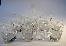 Various drinking glasses, to include a tumbler etched with a border collie, 9cm high, French crystal