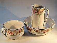 A Victorian Royal Doulton part wash set, comprising a jug and bowl, 41cm dia.and chamber pot, each w