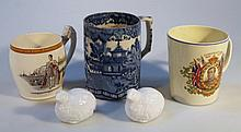 An 18thC blue and white pearlware cider tankard, of cylindrical form with angular C scroll handle, d
