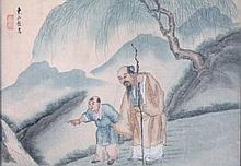 19thC Chinese school. Figures before trees and mountains, watercolour on linen, signed and stamped,