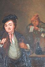 19thC Dutch School. Tavern interior, figure with clay pipe and glass, bottle and table before a furt