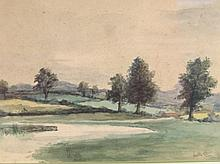 *Walter Lee (1891-1969). Tree lined fields before hills, on a calm day, watercolour, signed, 18cm x