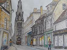 Esme (20thC). St Mary's Street Stamford and another of a church, watercolours, 25cm x 30cm (2).