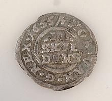 A Frederick III silver two skilling coin, dated 1665, 2cm wide.