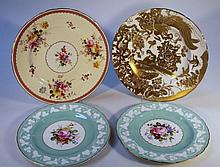 A pair of Royal Crown Derby cabinet plates, each hand touched decorated with flowers with acorn bord