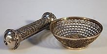 A mesh work basket, of circular form on a circular foot, with a floral geometric pattern, 19thC Indi