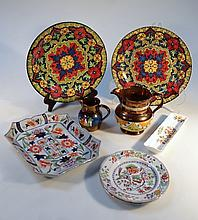 Various 19thC and later pottery, to include a Ironstone dish of shaped rectangular form, polychrome