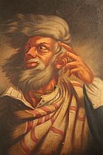 19thC Dutch School. Bearded gentleman, quarter profile, in a blowing wind, oil on canvas, 60cm x 49c
