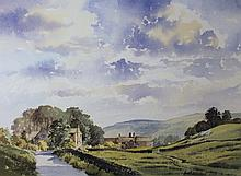 Peter J Burke (20thC). Wharfedale Morning, watercolour, signed, 22.5cm x 44cm.