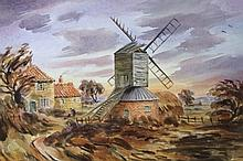 A. Humphrey (20thC). Saltby Mill, watercolour, signed, dated 1985, 30.5cm x 43cm.
