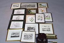 20thC School. Still life summer flowers, watercolour, 22cm dia., a quantity of other pictures, frame