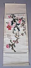 19thC Japanese school. Birds and flowers, signed and attributed, 41cm x 70cm.