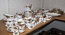 Various Royal Albert Old Country Roses dinnerware, to include coffee pot, 28cm high, lidded tureen,