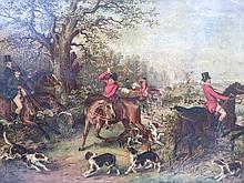 After Holt. Huntsman saddling horses and fox hunt