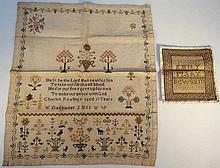A mid-19thC pictorial and motto sampler, by Charl