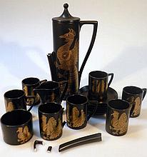 A Portmeirion Phonics pattern coffee service, by