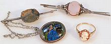 Various jewellery, to include cameo ring on yello