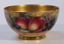 A Royal Worcester porcelain fruit pattern bowl, b