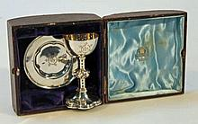 A Victorian silver travelling communion set, prob