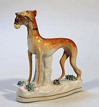 A Staffordshire figure, of a standing greyhound h