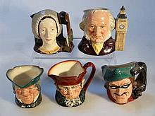Five various Royal Doulton character jugs, to inc