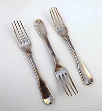 A set of three silver George III forks, probably