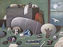 * Martin Leman (b.1934). Still life stones before