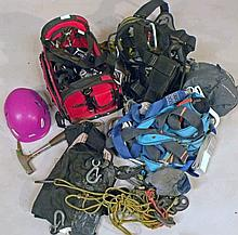 Various climbing equipment, to include hard hat,