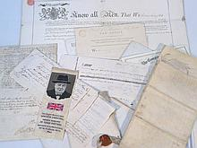 Various ephemera and indentures, relating to prop