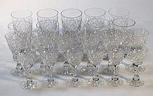 Ten large leaded crystal tumblers, six cut glass