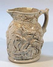 A Masons ironstone jug, raised with dogs hunting
