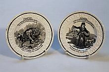 A pair of Staffordshire pearlware child's alphabe