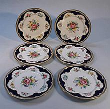 Six Royal Worcester Charlotte pattern cabinet pla