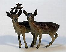 An Austrian cold cast figure group, of stag and h