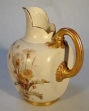 A Royal Worcester jug, the bulbous shouldered bod