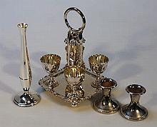 Various silver plate, to include an egg cruet set