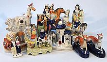 Various Staffordshire figures, to include standin