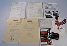 Various signed ephemera, to include a letter sign
