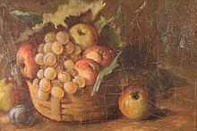 H Roigonot. Still Life grapes and apples, oil on