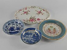 18thC and 19thC ceramics, including Chinese blue and white, Vienna style plate, etc, (AF).