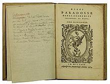 Dieci paradosse degli Academici Intronati da Siena. In Milano: appresso Gio. Antonio degli Antonii, 1564.