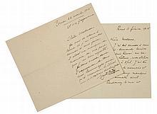 Rodin Auguste, 2 lettere autografe (?) firmate. Datate 1915, Roma - Via Gregoriana 25.
