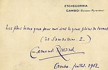 Rostand Edmond, Biglietto autografo firmato. Datato luglio 1902, Cambo.