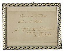 Garibaldi Giuseppe, Biglietto autografo firmato inviato a Destro. Caprera, 15 dicembre 1876.
